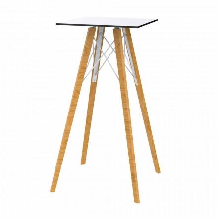 Kwadratowy wysoki stolik barowy z drewna i HPL, 4 sztuki - Faz Wood firmy Vondom