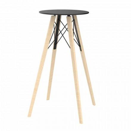 Okrągły wysoki stolik barowy z drewna i HPL, 4 sztuki - Faz Wood firmy Vondom