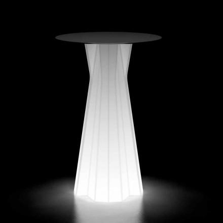Wysoki stół zewnętrzny ze świecącą podstawą i blatem HPL Made in Italy - Tinuccia