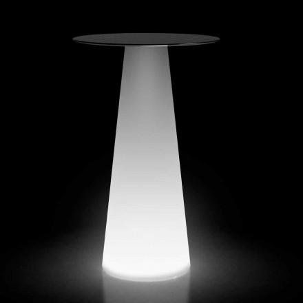 Wysoki stół zewnętrzny ze światłem LED z HPL i polietylenu Made in Italy - Forlina