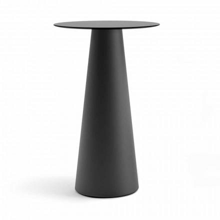 Wysoki stół ogrodowy z okrągłym blatem w kolorze HPL Made in Italy - Forlina