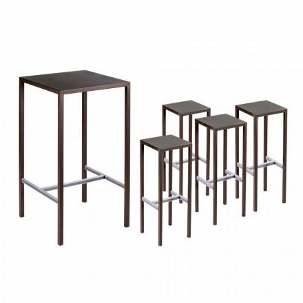 Stół barowy z 4 stołkami zewnętrznymi z malowanego metalu Made in Italy - Fada