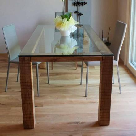 Stół z kryształowym blatem i drewnem modero jesionowym Made in Italy - Asella