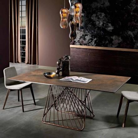 Nowoczesny stół z powierzchnią szklano-ceramiczną wyprodukowany we Włoszech, Mitia