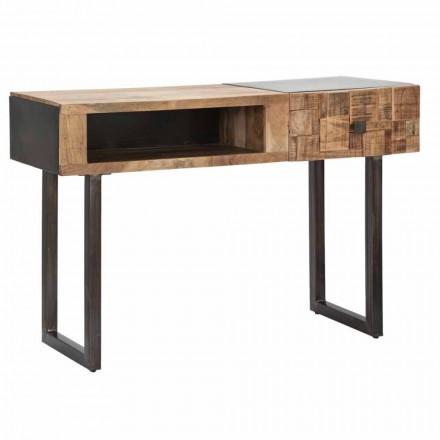 Konsola z żelaza i drewna akacjowego z szufladą designerską - Dena
