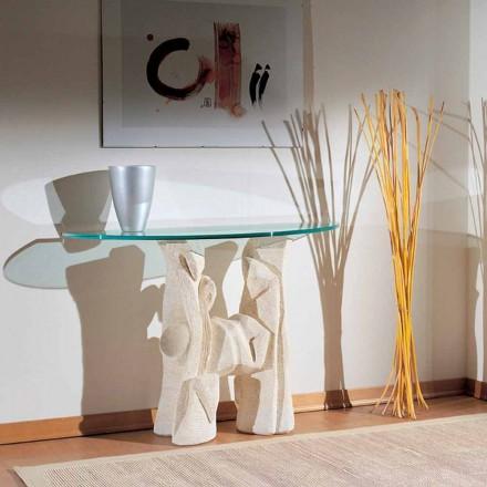 Stół/konsola wyrzeźbiona ręcznie z kamienia i kryształu model Dios