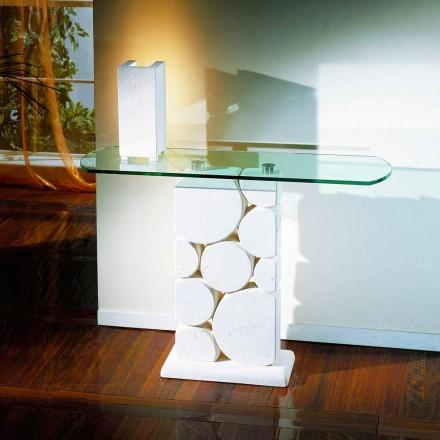 Stół/konsola wyrzeźbiona ręcznie z kamienia i kryształu model Hosios