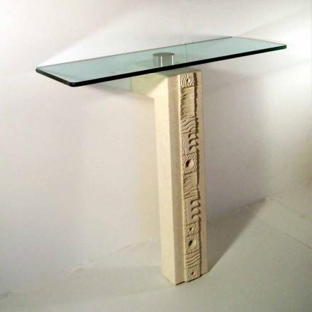 Stół/konsola prostokątna z kamienia Vicenza i kryształu model Abidos