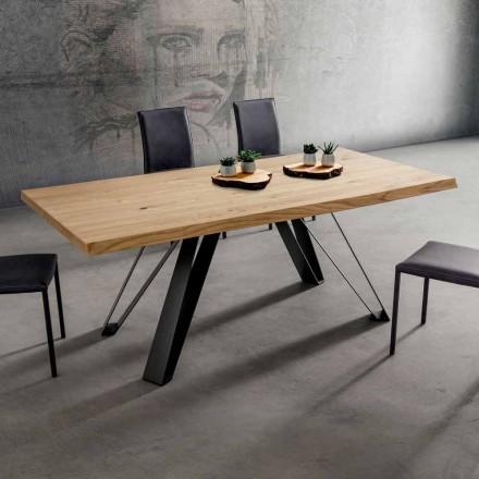 Stół kuchenny z blatem z okorowanego drewna Made in Italy, Precious - Aresto