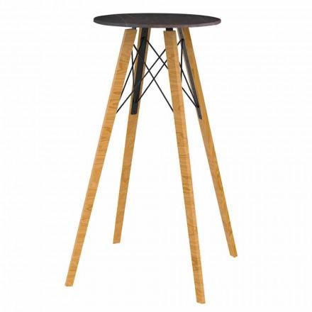 Okrągły wysoki stół barowy z drewna i marmuru, 4 sztuki - Faz Wood firmy Vondom