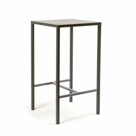 Kwadratowy stolik barowy z malowanego metalu na zewnątrz Made in Italy - Fada