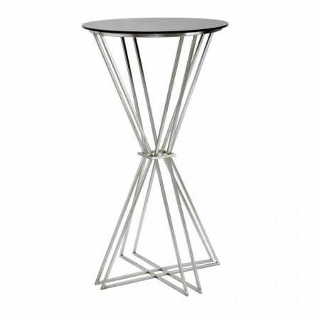 Okrągły stolik barowy o nowoczesnym designie z żelaza i szkła - Benita