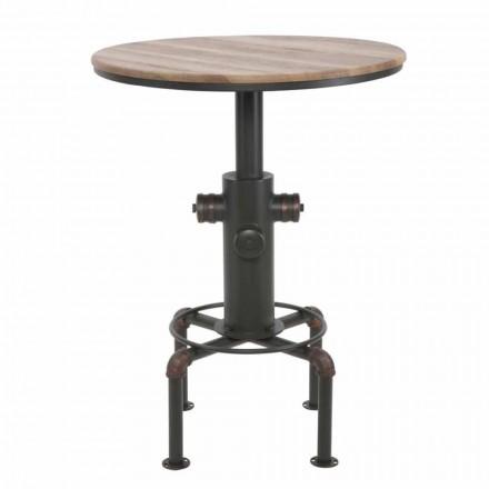 Stół barowy w stylu industrialnym z żelaza i drewna - Niv
