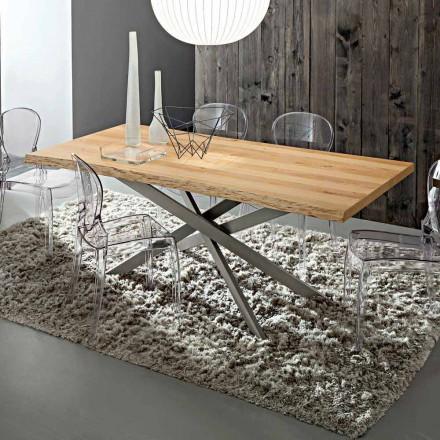 Stół kuchenny z blatem z okorowanego dębu Made in Italy - Carlino