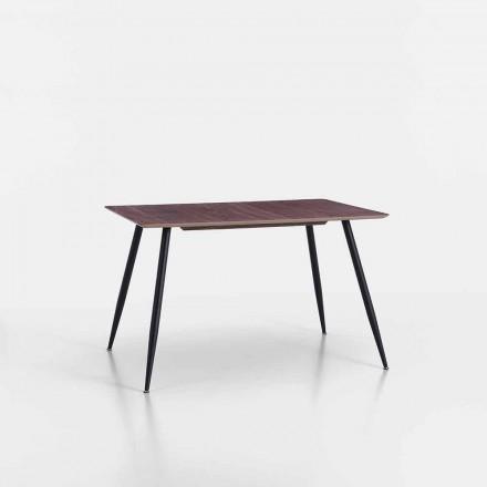 Nowoczesny stół kuchenny z Mdf i matowego czarnego metalu - Foulard