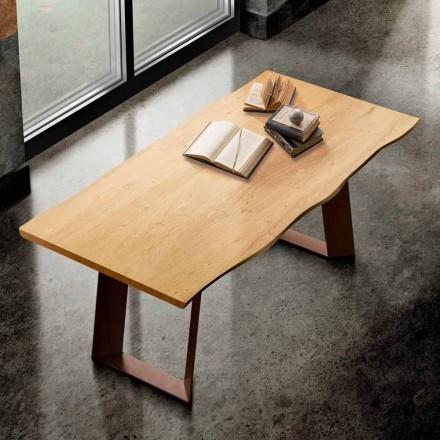 Stół z litego drewna i metalu wykonany we Włoszech, Flora