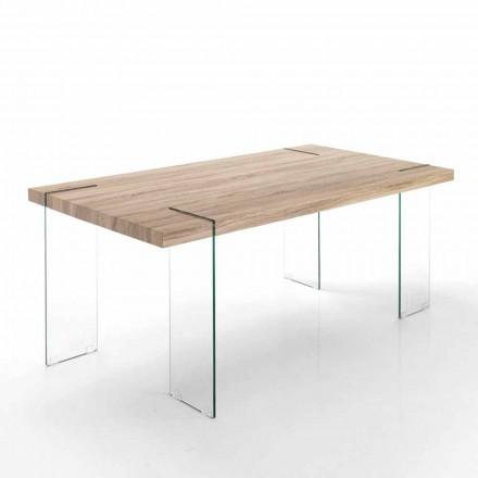 Nowoczesny stół kuchenny z blatem Mdf i podstawą szklaną - Joey