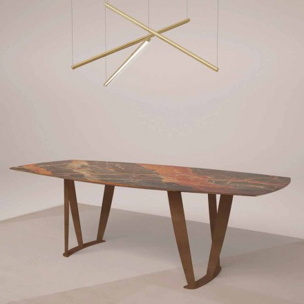 Luksusowy prostokątny stół z marmuru Ombra Caravaggio i metalu - Naruto