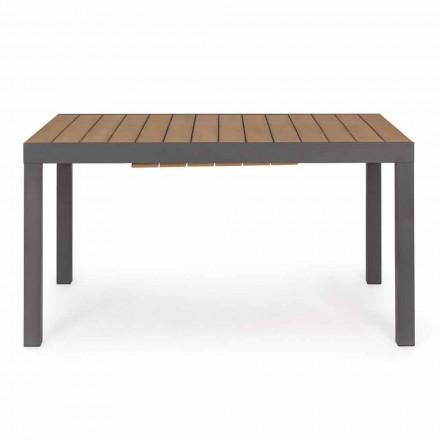 Stół rozkładany do 200 cm z blatem z drewna tekowego - wykończenie Bobel