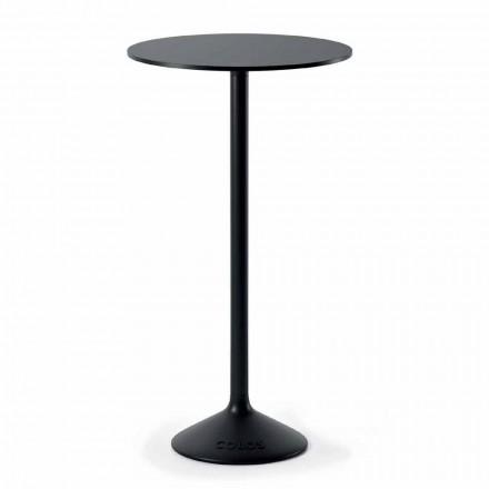 Wysoki okrągły stół zewnętrzny z żeliwa metalowego i HPL Made in Italy - Condor