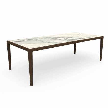 Stół do projektowania na zewnątrz z drewna tekowego i kamionki Capraia - Cruise Teak Talenti