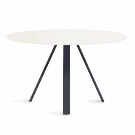 Okrągły stolik zewnętrzny z metalu i HPL Made in Italy - Conrad