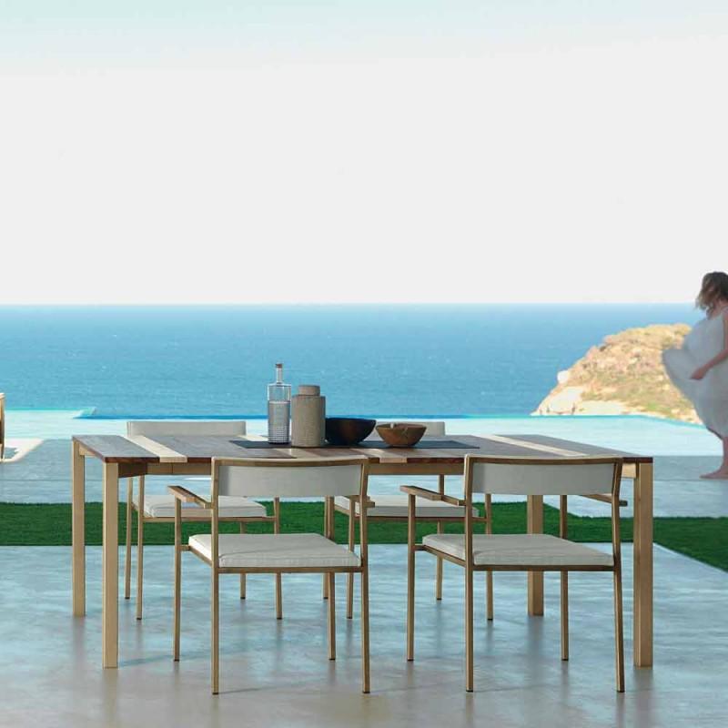 Casilda Talenti nowoczesny stół ogrodowy z drewna i stali nierdzewnej 200x100