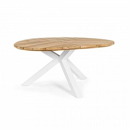 Okrągły stół ogrodowy z drewna tekowego z aluminiową podstawą, Homemotion - Selenia
