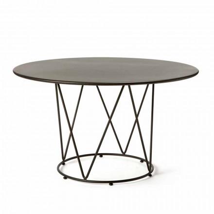 Okrągły nowoczesny stół ogrodowy z malowanego metalu Made in Italy - Ibra