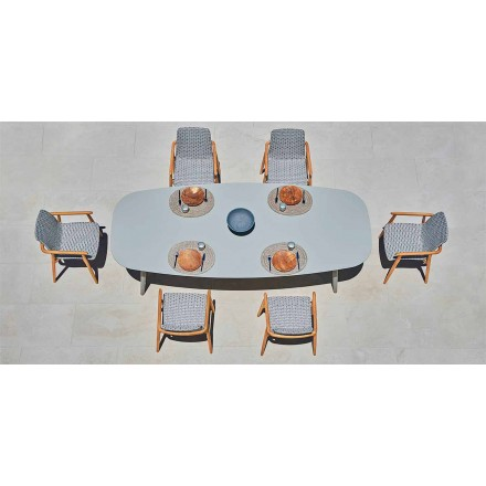 Designowy stolik zewnętrzny z kolorowego aluminium Ellisse firmy Varaschin