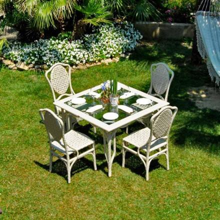 Stół do ogrodu design z szklanym blatem, model Romeo