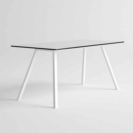 Stół ogrodowy z białego aluminium i laminatu HPL Nowoczesny design - Oceania2