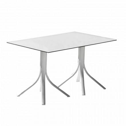 Luksusowy stół ogrodowy z aluminium i bieli HPL lub brązu - Filomena