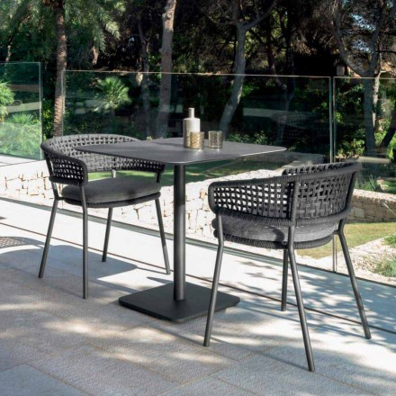 Nowoczesny stolik ogrodowy Moon Alu marki Talenti, 80x80 z ceramiką