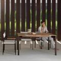 Stolik kawowy drewniany stalowa konstrukcja, design 150x150cm Casilda