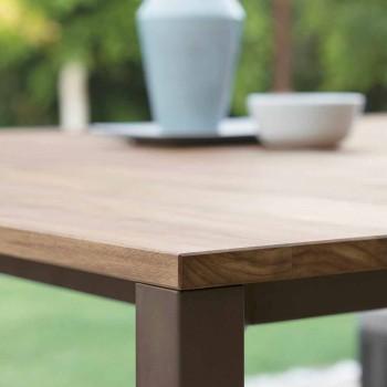 Casilda Talenti stół ogrodowy drewniany i ze stali nierdzewnej 150x150 cm