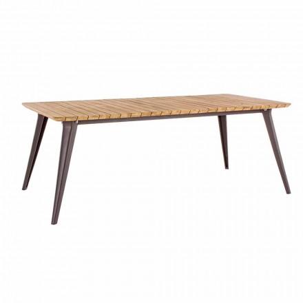 Stół ogrodowy Blat z drewna tekowego i aluminiowa podstawa Homemotion - Amabel
