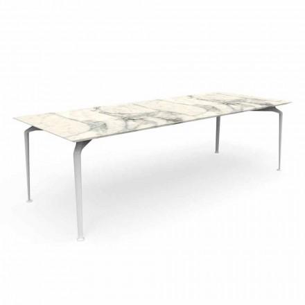 Nowoczesny prostokątny stół ogrodowy z gresu i aluminium - Cruise Alu Talenti