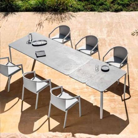 Stół rozkładany zewnętrzny 318 cm z aluminium i kamionki - Filomena