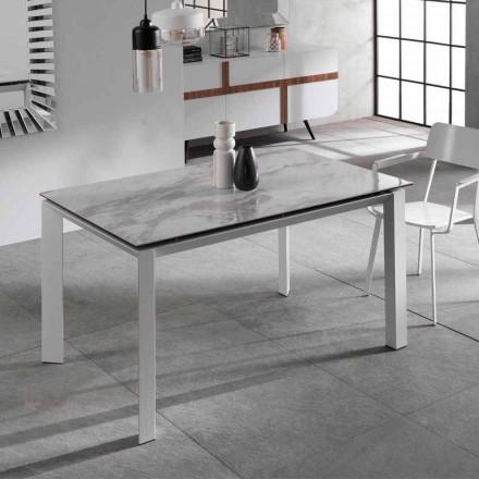 Wysuwany stół z ceramicznym blatem z efektem marmuru, Nosate