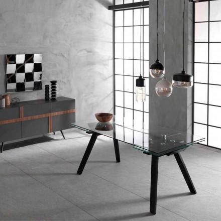 Rozkładany stolik do 260 cm, szklany blat i podstawa z popiołu, Empoli