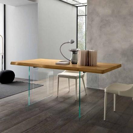 Stół rozkładany do 280 cm z drewna i szkła Made in Italy - Focus