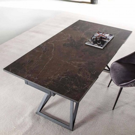 Stół rozkładany do 240 cm ze szkła ceramicznego i stali - Bortolo