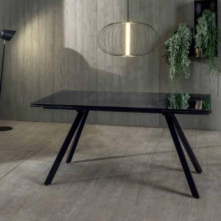 Stół rozkładany do 240 cm z hartowanego czarnego szkła fumé - Fener