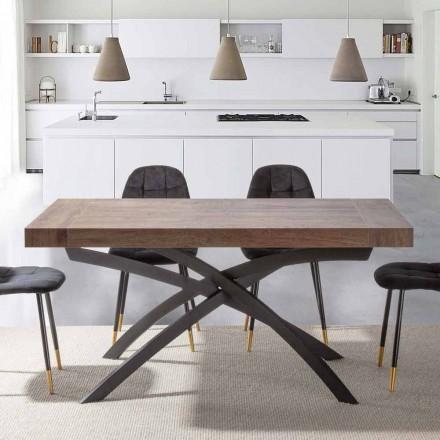 Stół rozkładany do 260 cm z drewna melaminowego i metalu - Lukas