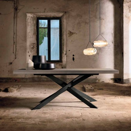 Rozkładany stół jadalny z drewna dębowego L315 cm wykonany we Włoszech, Oncino