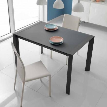 Rozkładany stół do jadalni z szkła i metalu Oddo