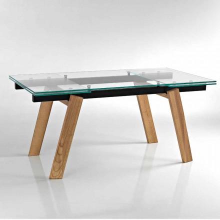 Nowoczesny rozkładany stół jadalny wykonany ze szkła we Włoszech, Azad