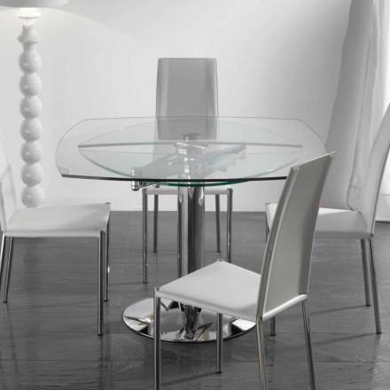 Stół do jadalni rozkładany z przezroczystego szkło hartowaneu Onda