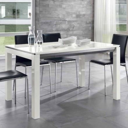 Rozkładany stół do jadalni Tanganika Drewno orzechowe Błyszczący biały lakier - Ketla
